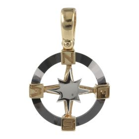 Yellow and white gold Wind Rose pendant with ceramic | Gioiello Italiano