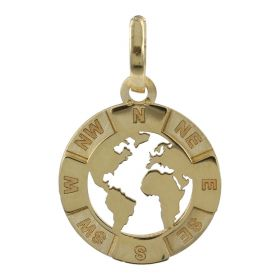 World pendant in 14kt yellow gold | Gioiello Italiano