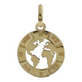 Pendente Mondo in oro giallo 14kt | Gioiello Italiano