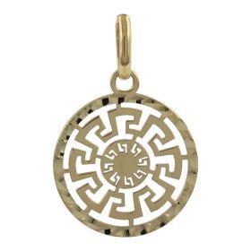 Yellow gold round Greek pendant | Gioiello Italiano