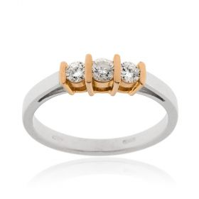 White and pink gold trilogy ring with 0.30ct diamonds | Gioiello Italiano