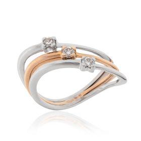Anello trilogy oro bianco e rosa con diamanti 0.22ct