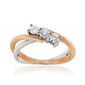 White and pink gold trilogy ring with 0.45ct diamonds | Gioiello Italiano