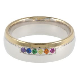 White and yellow gold band ring with coloured zircons