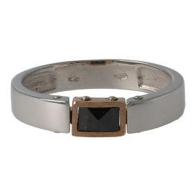 Men's 18kt white and rose gold ring with black ceramic | Gioiello Italiano