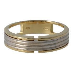 Men's 18kt yellow and white gold band ring | Gioiello Italiano