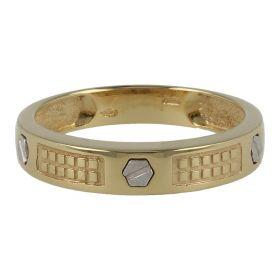 Men's 18kt yellow gold ring with white gold screws | Gioiello Italiano