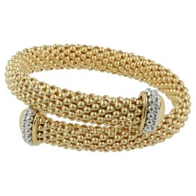 Elastic bracelet in 18kt yellow and white gold