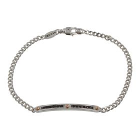 Men's 18kt white gold bracelet with black spinel | Gioiello Italiano