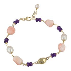 'Joia' bracelet in 18kt yellow gold with pink coral and pearls | Gioiello Italiano