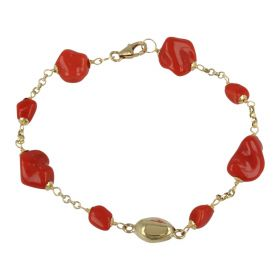 """Petra"" 18kt yellow gold bracelet with red coral 