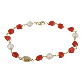 """Arena"" bracelet in 18kt yellow gold with red coral and natural pearls 