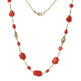 """Petra"" necklace in 18kt yellow gold and red coral 
