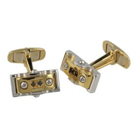 18kt yellow and white gold cuffs with spinel | Gioiello Italiano
