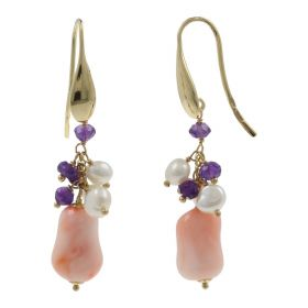 18kt yellow gold earrings with pink coral and natural pearls | Gioiello Italiano