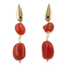 """Petra"" earrings in 18kt yellow gold with red coral 