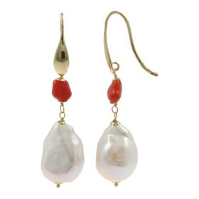 """Arena"" earrings with natural pearls and red coral 