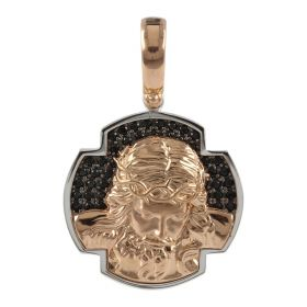 Christ pendant in 18kt pink and white gold with spinel stones | Gioiello Italiano