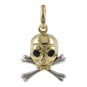 Skull pendant in 18kt yellow and white gold | Gioiello Italiano