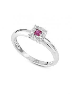 18kt white gold square ring with diamonds and precious stones | Gioiello Italiano