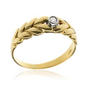 Anello in oro giallo con diamante brillante