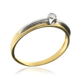 Yellow and white gold ring with diamond
