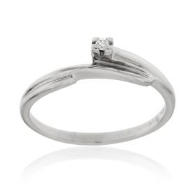 White gold solitaire ring with 0.02ct diamond