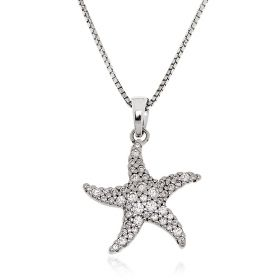 Starfish silver necklace with zircons