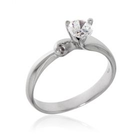 18kt white gold ring with zircons