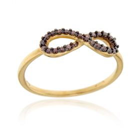 """Yellow gold """"Infinity"""" ring with brown zircons"""