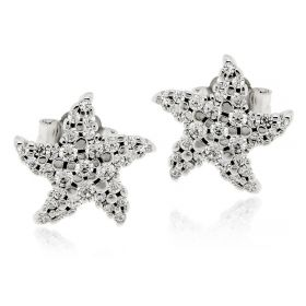 Star-shaped silver earrings