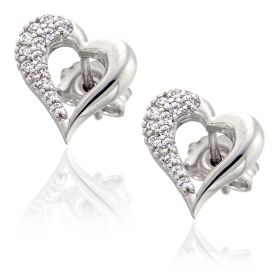 White gold heart-shaped earrings with zircons