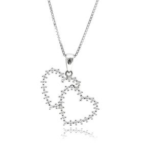 Double hearts silver necklace with zircons