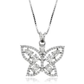 White butterfly silver necklace