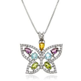 Multicolor butterfly silver necklace