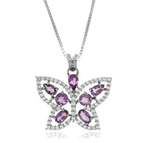 Silver necklace with purple butterfly