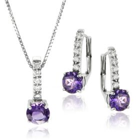 Silver set with purple zircons
