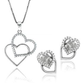 "Silver set ""Double Hearts"" 