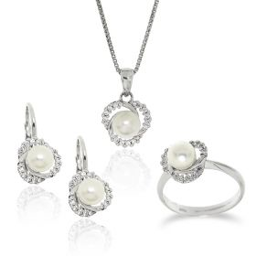 Silver set with pearls and zircons