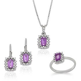 Silver set with white and violet zircons