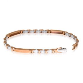Rose gold bracelet with white ceramic
