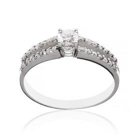 14kt white gold ring with diamonds | Gioiello Italiano