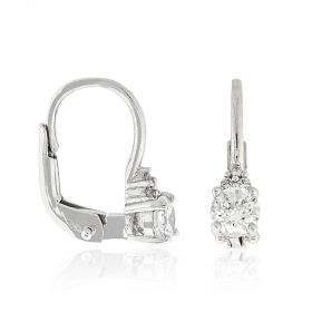 18kt gold earrings with white cubic zirconia stones