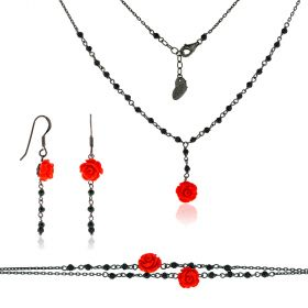 "Silver set with resin roses and spinel ""Linea Marie"""