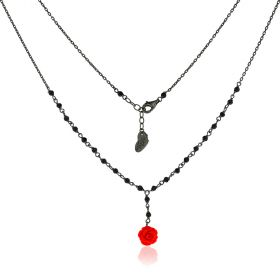 "Silver necklace with spinel and rose pendant ""Linea Marie"""
