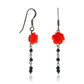 "Silver earrings with coloured roses and spinel ""Linea Marie"""