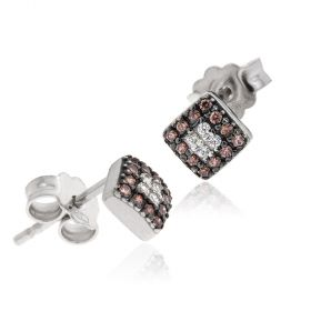 Stud earrings with white and browns zircons pave
