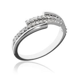 14kt white gold ring with 0.32ct diamonds | Gioiello Italiano