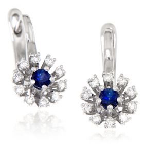 White gold earrings with diamonds and sapphires | Gioiello Italiano