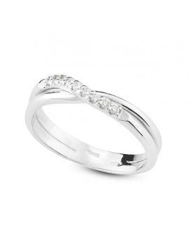 18kt white gold ring with 0.11ct diamonds | Gioiello Italiano